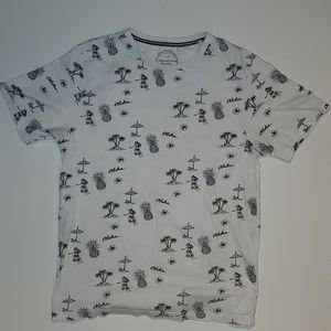 Mens short sleeve Denim and Flower Tshirt